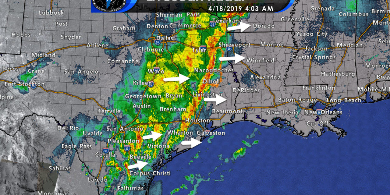 4 AM Severe Weather Update; Squall line with strong wind moving across East Texas