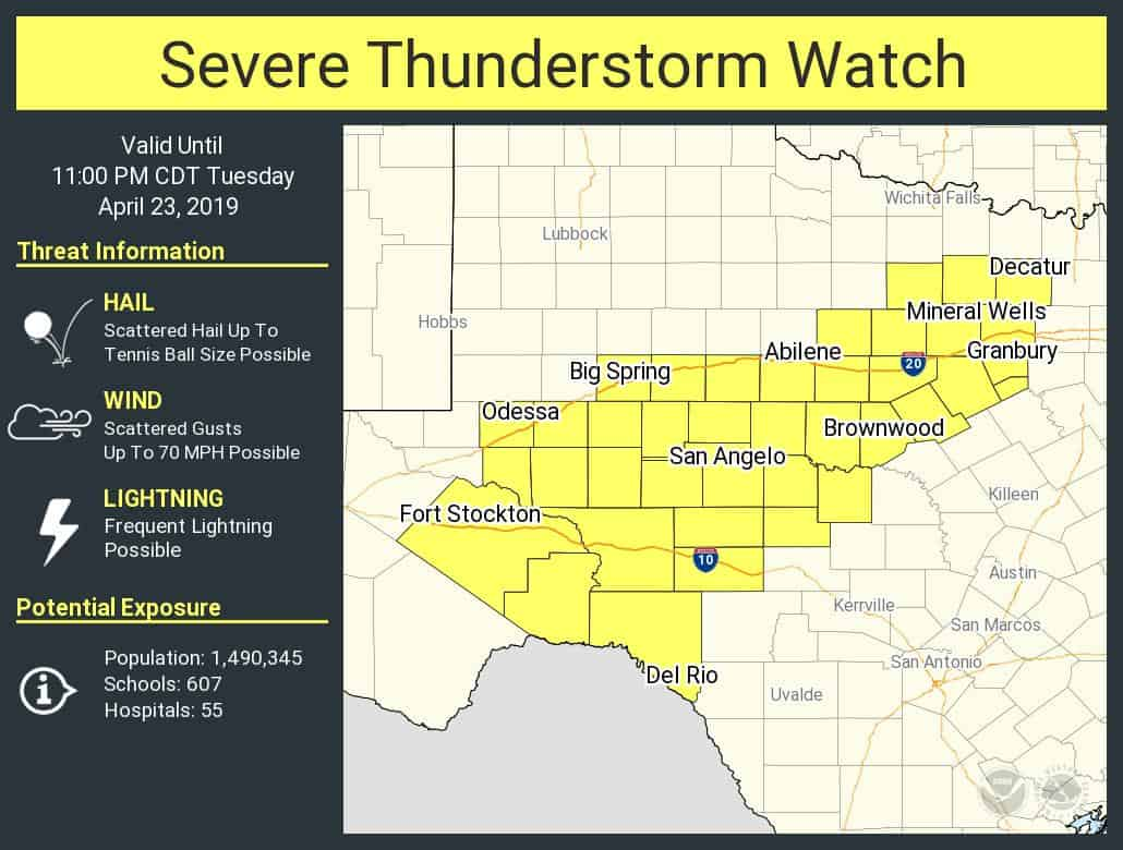 Severe Storm Watch From The Concho Valley Into Western North