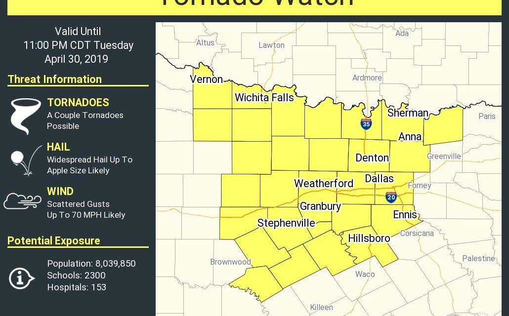 Tornado Watch Issued for North Texas & Texoma; Stay Weather Aware!