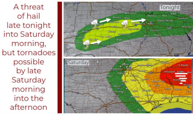Hailers late tonight and Saturday morning; tornado threat increases toward lunch-time Saturday