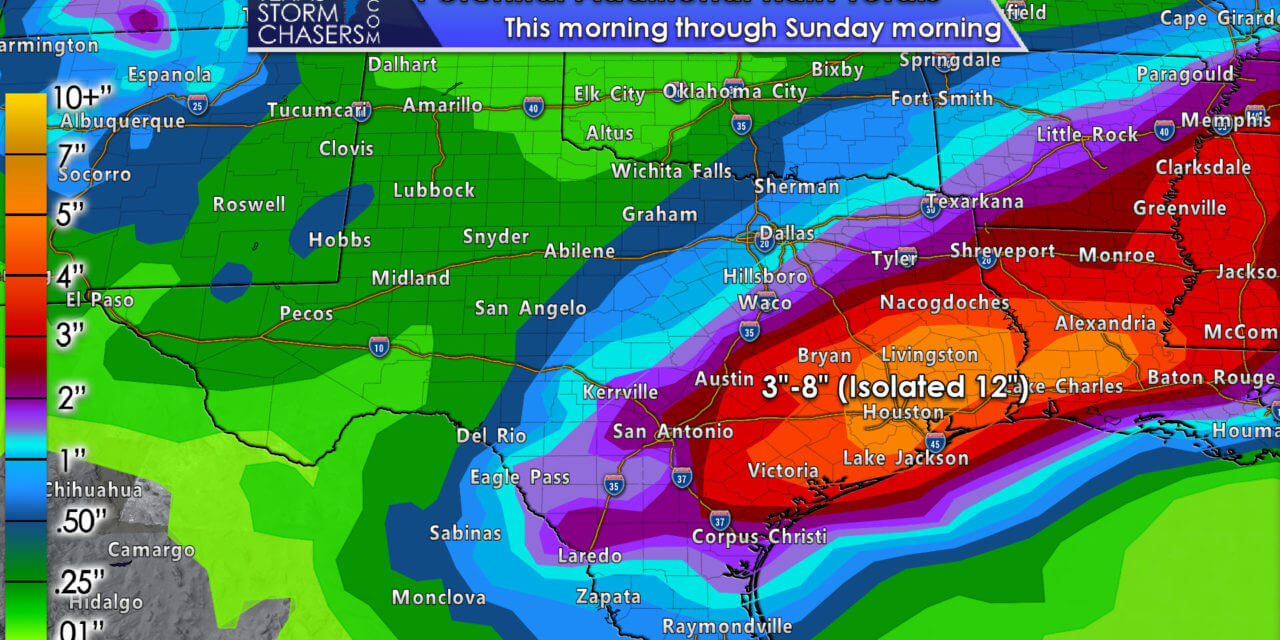 Strong storms in Southeast Texas this afternoon; Significant flooding threat this evening through the weekend
