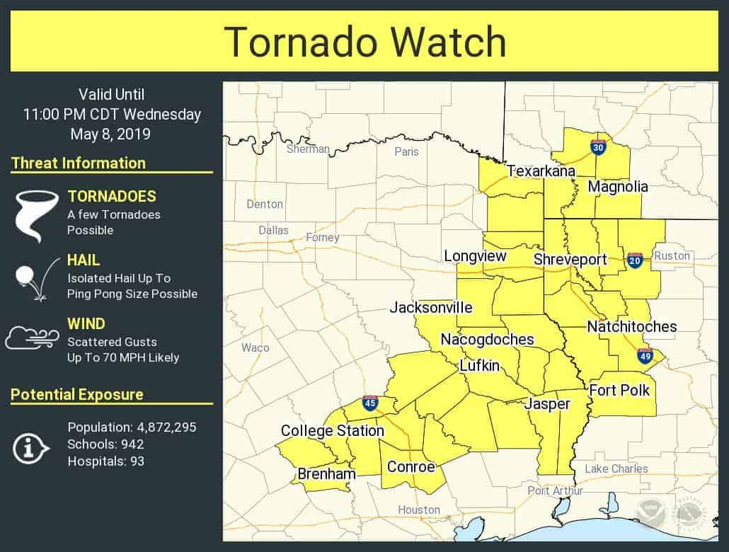 Tornado Watch for East Texas & Brazos Valley until 11 PM