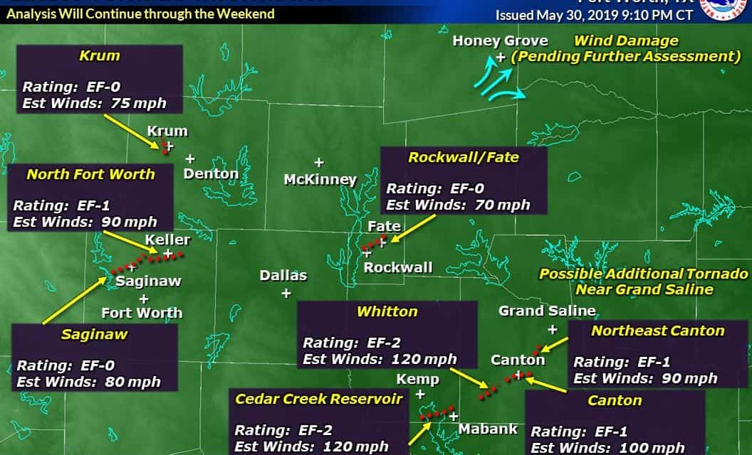 At least nine tornadoes confirmed from yesterday's outbreak in North/Northeast Texas