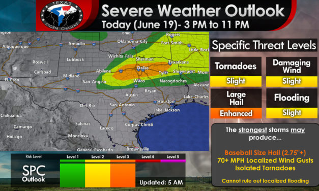 Severe thunderstorm threat this afternoon in North Texas & Northeast Texas (Big Hail Possible!)