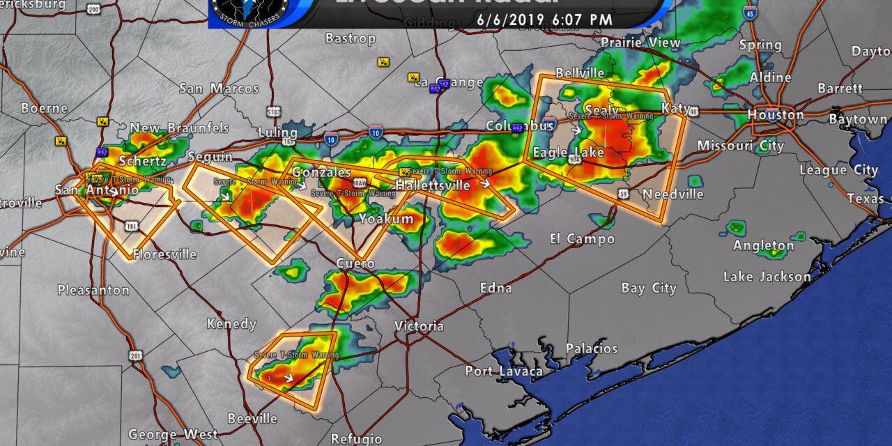 615PM Update – Severe storms moving toward southwest Houston metro, Corpus Christi, & expanding into the Coastal Plains