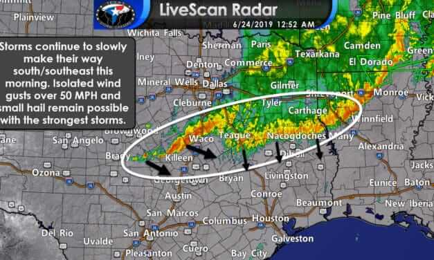 Obnoxious thunderstorms continue moving south into Central & East Texas early this morning