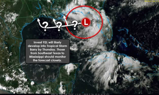 Probable 'Barry' will approach the Gulf Coast by Friday; Trends shifting toward Louisiana, but shifts still likely!