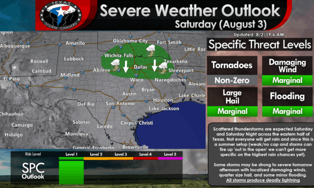 Increasing thunderstorm chances this weekend across the eastern half of Texas