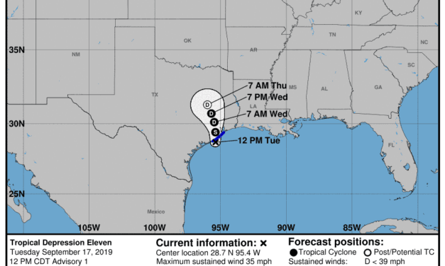 Tropical Storm Imelda Forms off the Southeast Texas Coast; Heavy Rain Still the Primary Threat