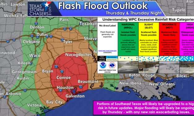 Severe Flooding Expected in Southeast Texas & East Texas over the coming days; it begins tonight
