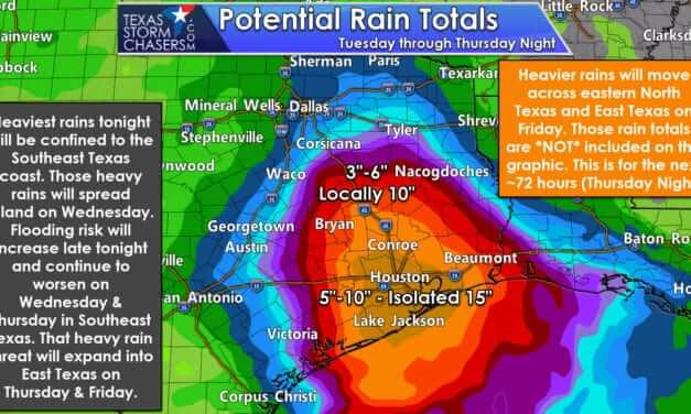 Flooding forecast to begin tonight in parts of Southeast Texas; spreading north into East Texas later in the week