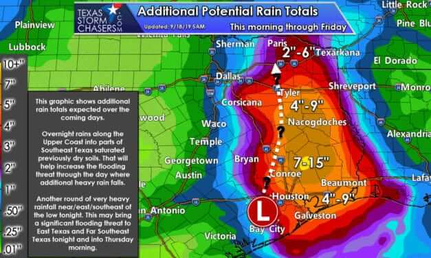 Flooding on the Upper Texas Coast & Southeast Texas Today; Dangerous Flooding Tonight in East Texas