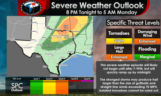 Severe thunderstorms likely after 9 PM into Tonight in Texoma, North Texas, Northeast Texas