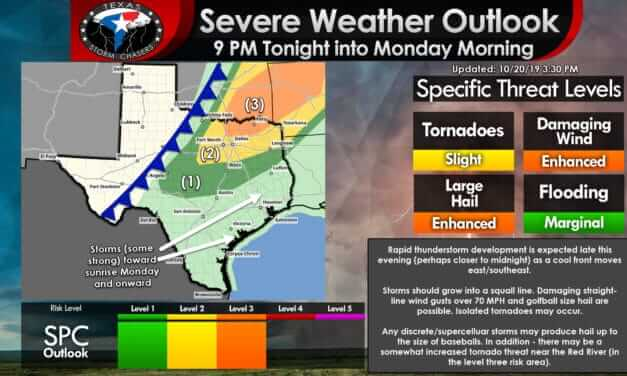 Severe storms likely to form after 10 PM in Texoma & North Texas; Squall Line moves south into Monday Morning