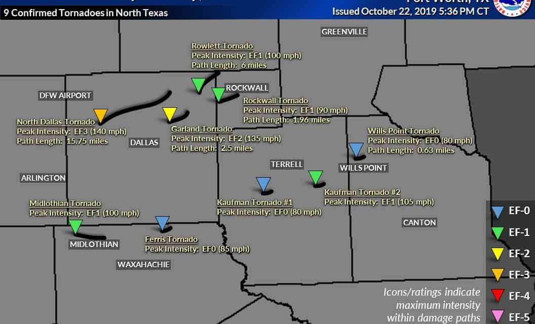Eleven tornadoes confirmed in Texas from Sunday Night's Outbreak