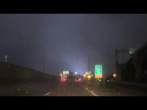 Our footage of last night's North Dallas tornado as it crossed I-635