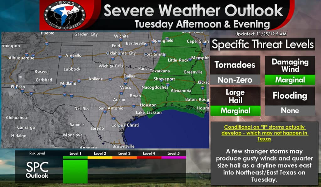 A severe weather outlook map for tomorrow afternoon
