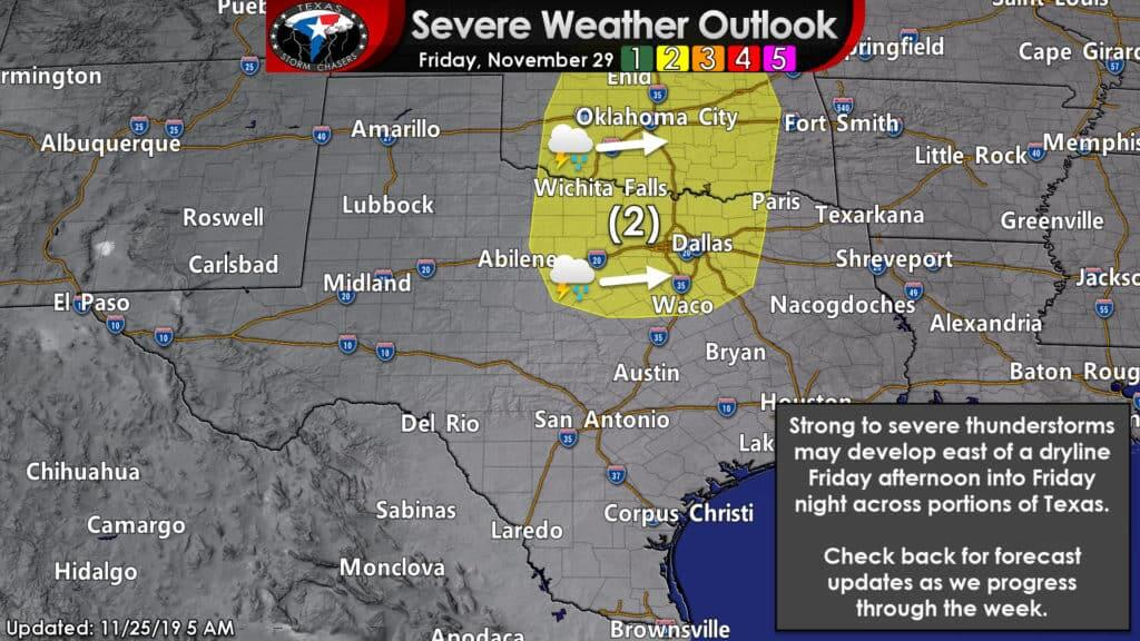 A severe weather outlook for Friday, November 30th