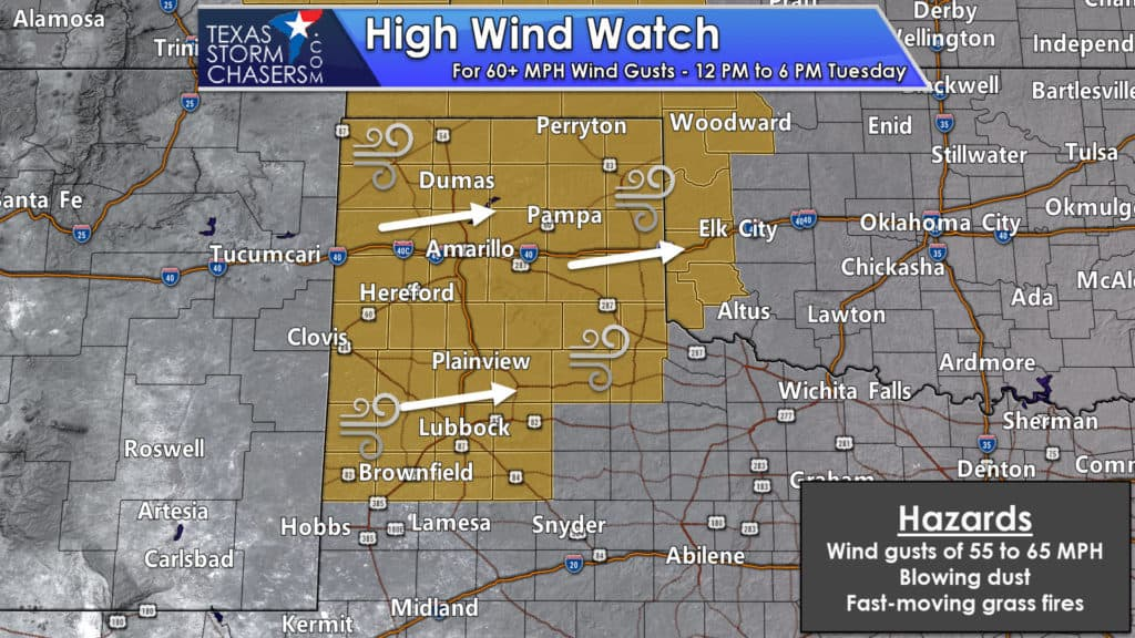 High wind watches covering all of the Texas Panhandle and West Texas
