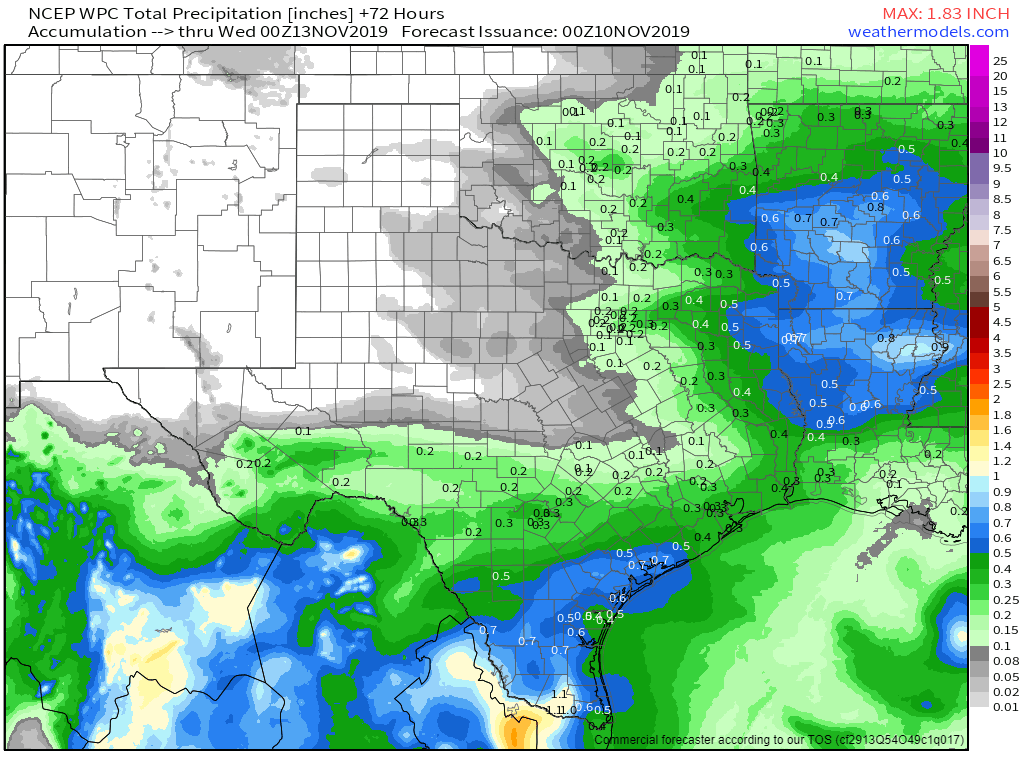 Potential rain totals across Texas early next week. Most locations will only see very light precipitation. Slightly heavier amounts are possible across East Texas and South Texas, but still under one inch of rain.