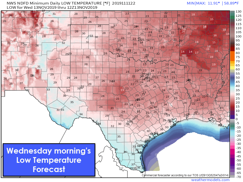 A Very Chilly Two Days Ahead For Texas With Spotty