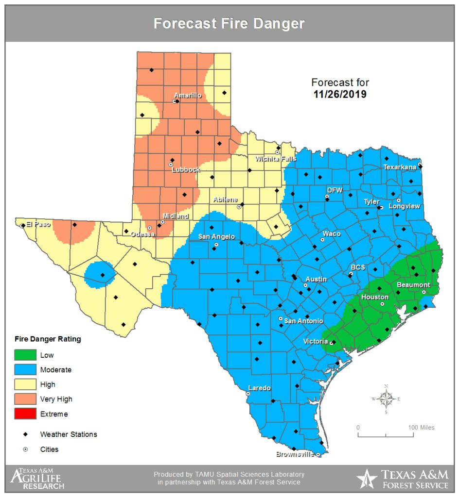 Forecast wildfire danger tomorrow (Tuesday, November 26)