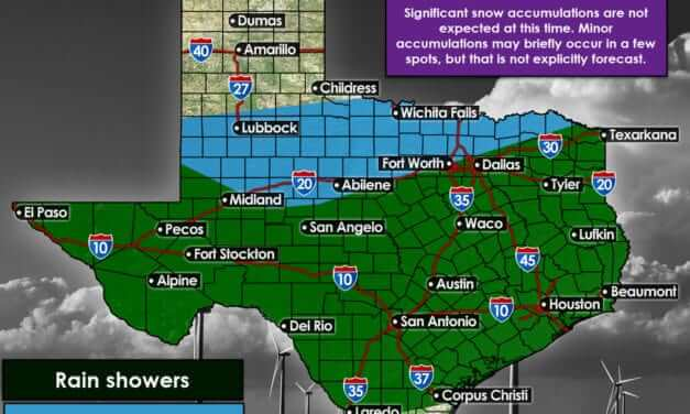Cold front and rain arrive Monday night; Snow mix possible along & north of I-20/I-30 Tuesday morning