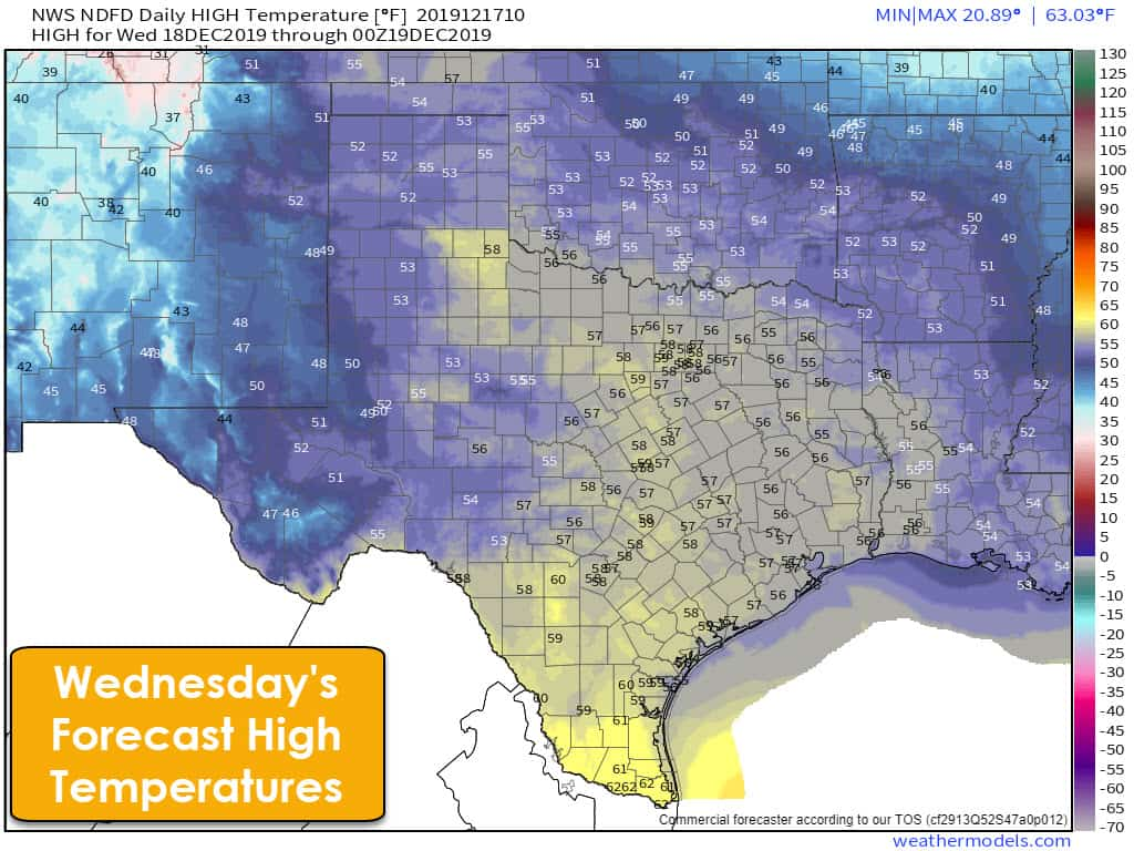 Wednesday's high temperature forecast from the National Weather Service
