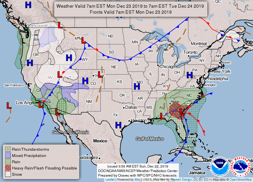 Monday's Nationwide Weather