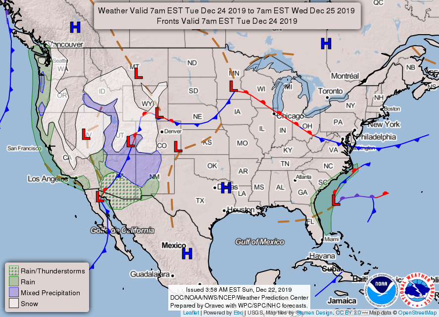 Tuesday's Nationwide Weather