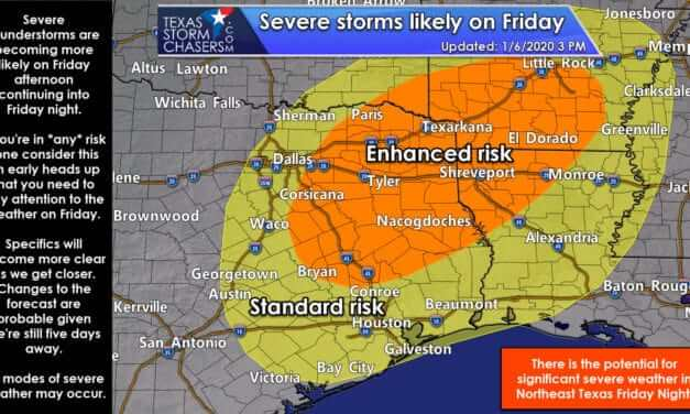 Severe storms likely on Friday in the eastern third of Texas
