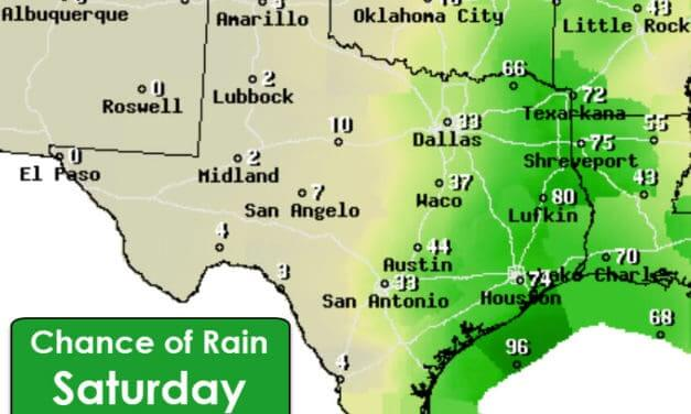 Rain returns Saturday night & Sunday east of Highway 281