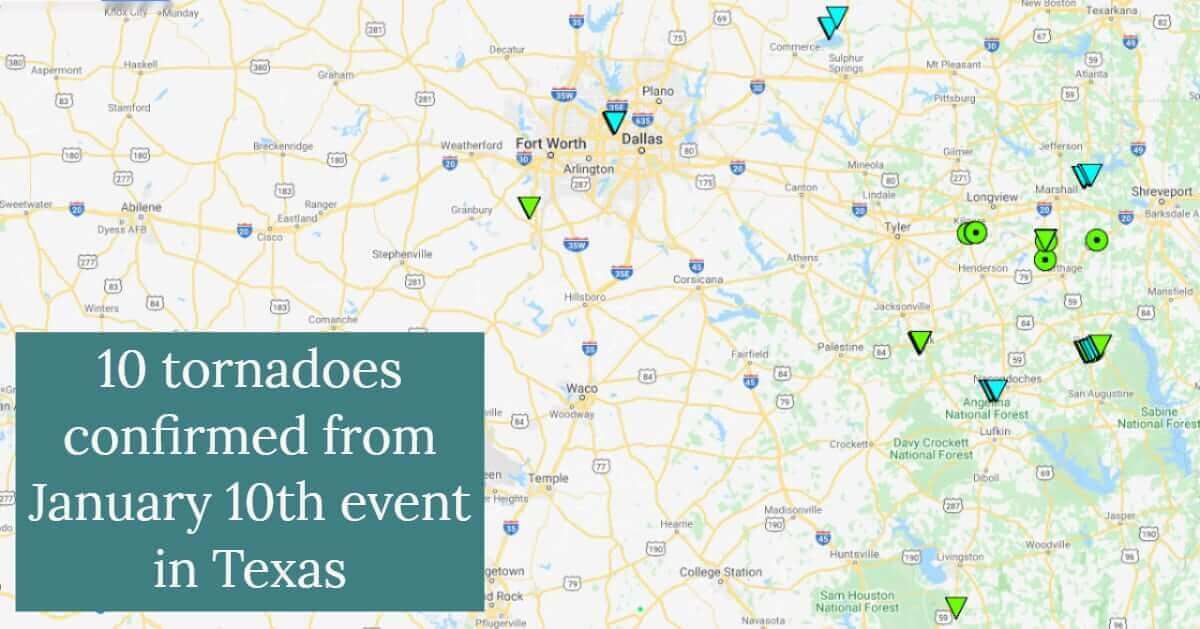 Ten tornadoes confirmed from the January 10, 2020 Event