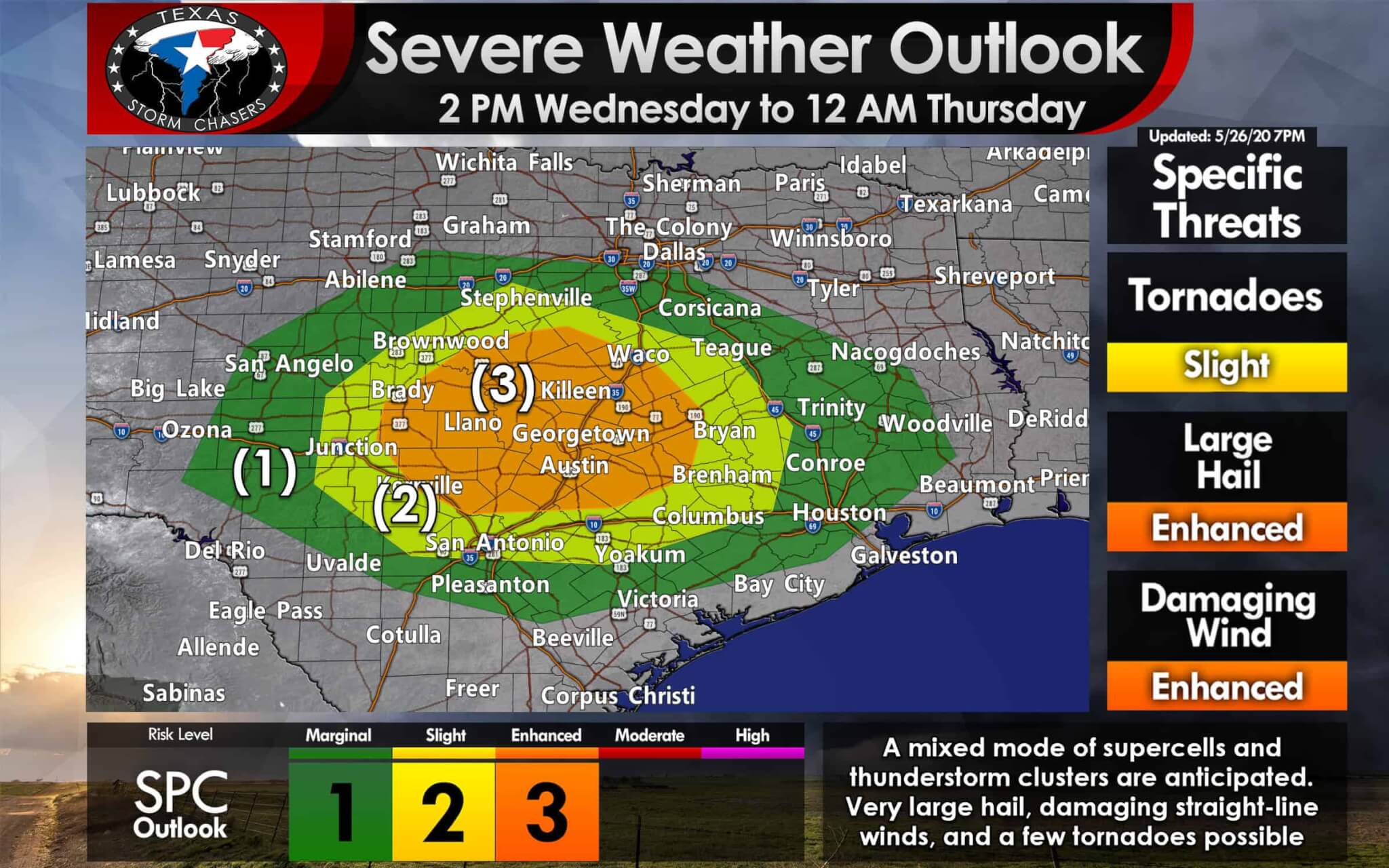 Level 3 Severe Weather Risk for the Hill Country & Central ...