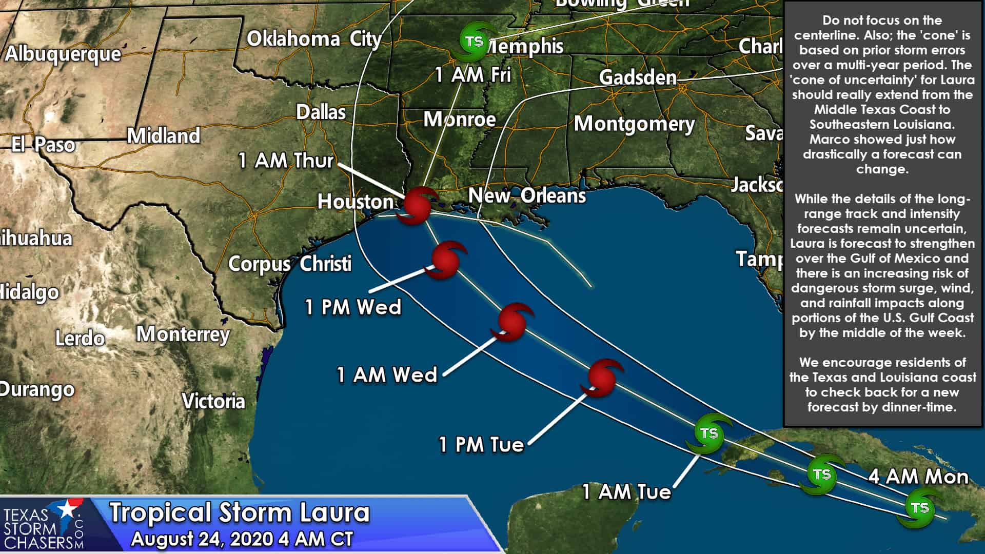 Laura A Potentially Strong Hurricane Threatening The Upper Texas Coast Louisiana By Wednesday Night Texas Storm Chasers