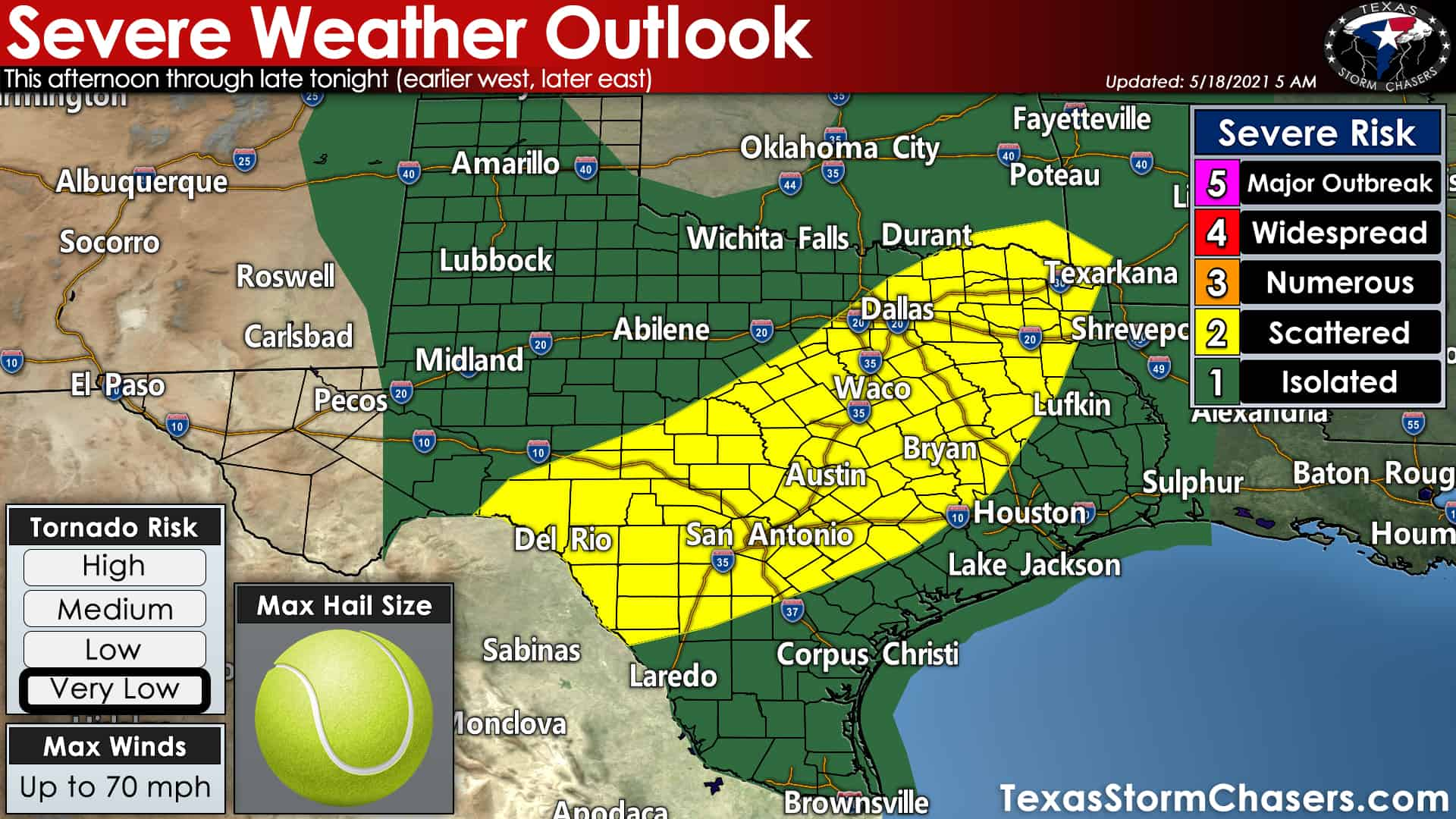 Today's severe weather outlook from the Storm Prediction Center