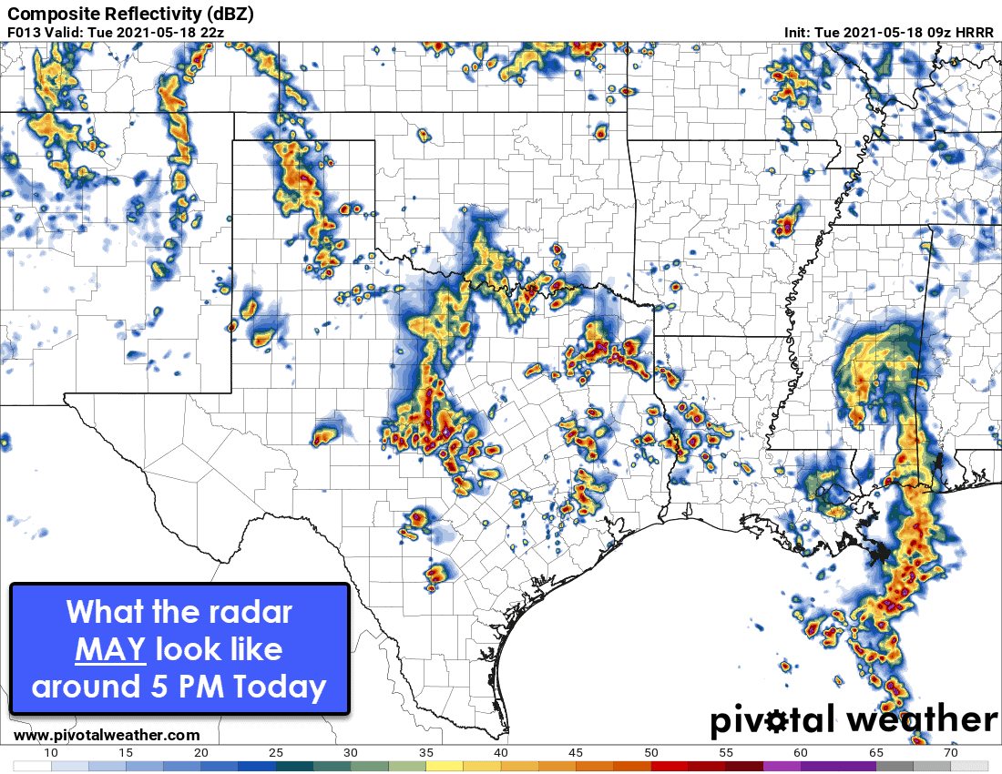 What the radar MAY look like at 5 PM today. Weather models are not handling this weather pattern well, so it's probable we'll be in for another day of 'nowcasting' versus 'forecasting'.