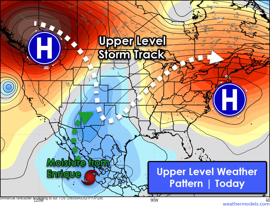 Today's upper-level weather pattern