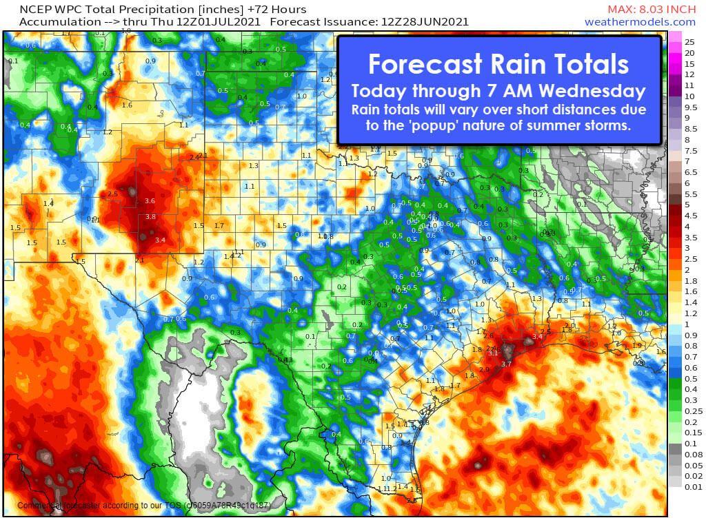 Forecast rain totals through mid-week