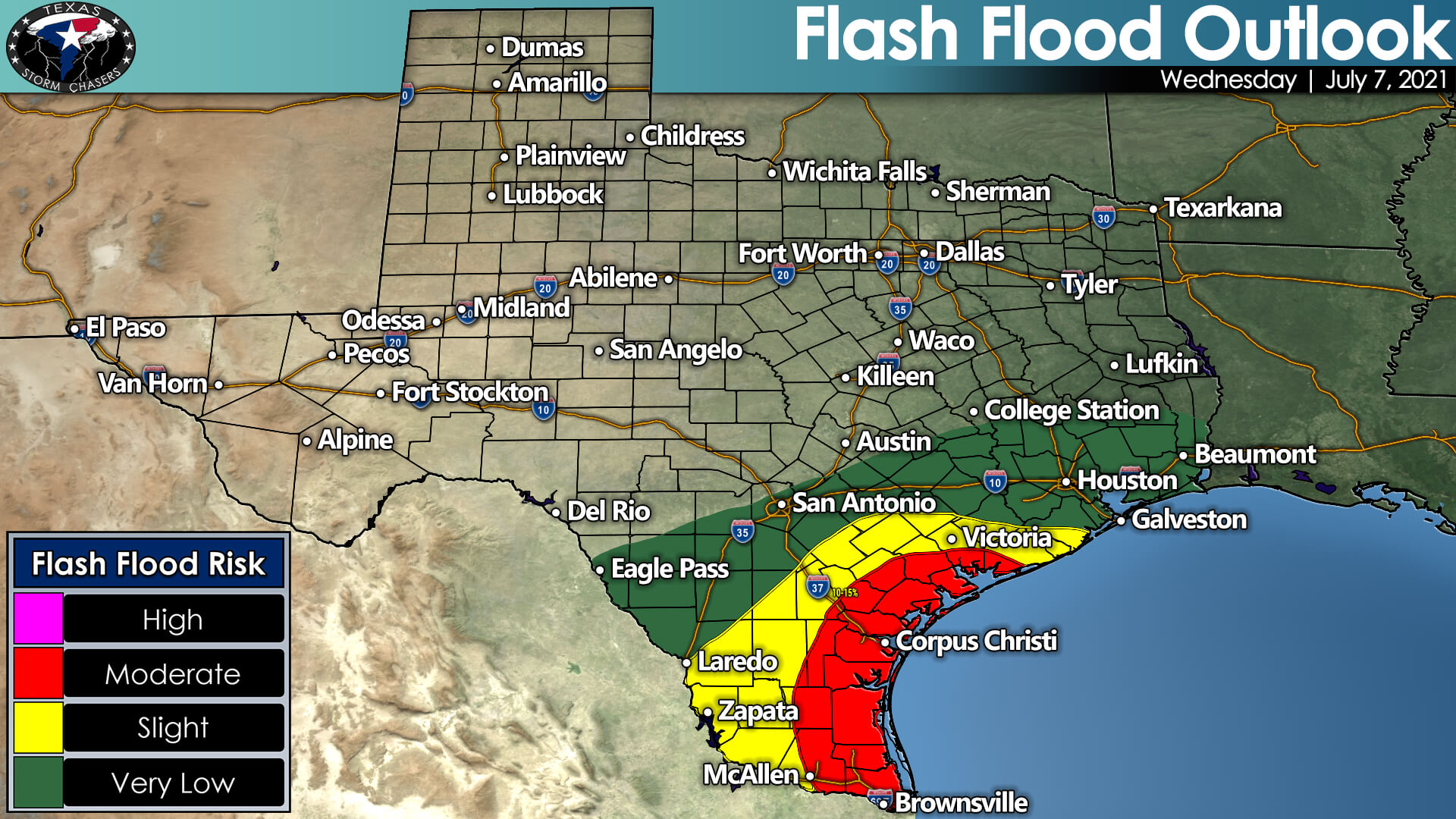 There is a moderate risk of flash flooding on Wednesday across the Middle Texas Coast, South Texas, and the Rio Grande Valley - including Corpus Christi, Brownsville, and McAllen. Comparatively lower risks of flooding exist north to Interstate 10 in Southeast Texas (Houston) to South-Central Texas (San Antonio) west to Eagle Pass.