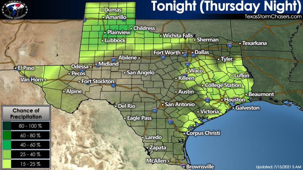 Chance of precipitation across Texas Tonight