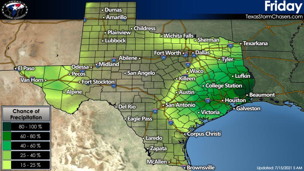 Chance of precipitation across Texas on Friday