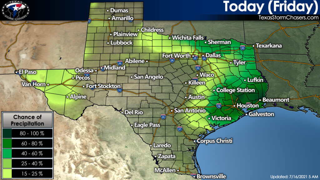 Today's rain chances will be concentrated in Southeast Texas, East Texas, and Texoma (generally from Interstate 20 in North Texas up to the Red River). There may be storms farther south this afternoon - along with isolated monsoonal storms in Far West Texas.