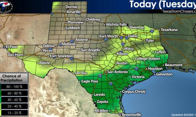 Rain chances continue across South/Southeast Texas through Wednesday