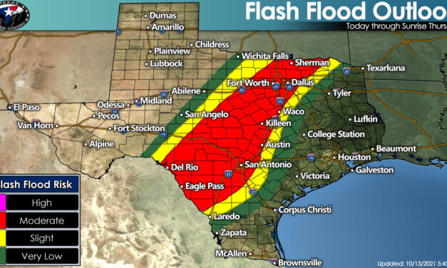 Moderate Risk of Flooding Later Today – Thursday Morning from D/FW to San Antonio & Del Rio